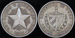 "World Coins - 1915 Cuba 20 Centavo - ""Coarse Reeding - Low Relief Star"" - XF"