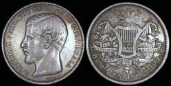 World Coins - 1869 R Guatemala 1 Peso - Rafael Cabrera - XF Silver