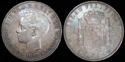 World Coins - 1897 SGV Philippines 1 Peso - Spanish Colony - Alfonso XIII - AU