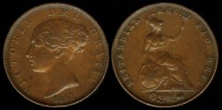World Coins - 1853 Great Britain 1/2 Penny XF