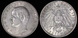 World Coins - 1911 D Germany - Bavaria 3 Mark - Otto Koenig - AU Silver