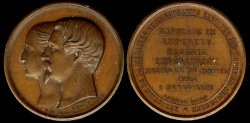 World Coins - 1853 France – Eugenie - Imperatrice, Napoleon III - Empereur (Minature) Wedding Medal