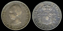 World Coins - 1889(89) MP-M Spain 50 Centimos AU