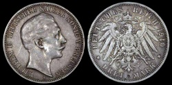 World Coins - 1910 A Germany - Prussia 3 Mark - Wilhelm II - AU