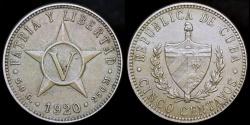 World Coins - 1920 Cuba 5 Centavos - 1st Republic - UNC