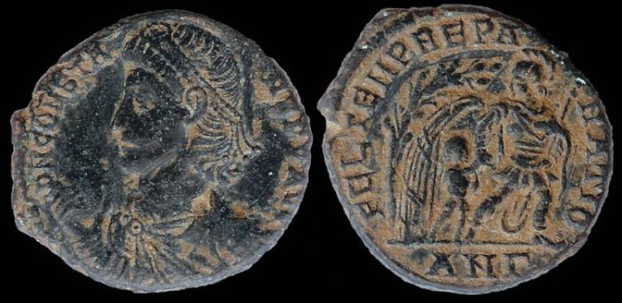 Ancient Coins - Constans Ae3 - FEL TEMP REPARATIO - Antioch Mint