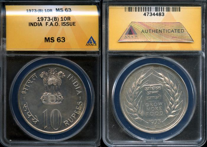 World Coins - 1973 (b) India (Republic) 10 Rupees - Silver F.A.O. Issue ANACS MS63