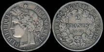 World Coins - 1871 A France 2 Francs VF