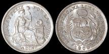 World Coins - 1908 FG Peru 1/2 Dinero - 1908/07 Overdate - UNC