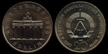 World Coins - 1990 A German Democratic Republic 20 Mark - Opening of the Brandenburg Gate Commemorative BU
