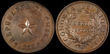 World Coins - 1853 Chile 1/2 Centavo - Decimal Coinage - AU