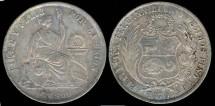 World Coins - 1870 YJ Peru 1 Sol AU