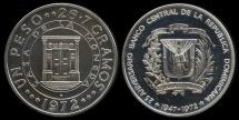 World Coins - 1972 Dominican Republic 1 Peso - 25th Anniversary of the Central Bank Silver Commemorative Proof