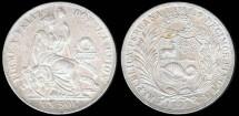 World Coins - 1891 TF Peru 1 Sol AU