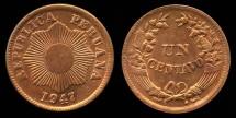 World Coins - 1947 Peru 1 Centavo BU