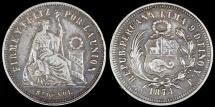 World Coins - 1874 YJ Peru 1/5 Sol - Republic Coinage - XF