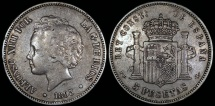 World Coins - 1893 PG-L Spain 5 Pesetas - Alfonso XIII - VF
