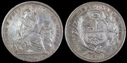 World Coins - 1906 JF Peru 1/5 Sol - Republic Coinage - AU