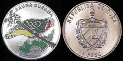 World Coins - 2001 Cuba 1 Peso - Multi-colored Cuban Parrot - Caribbean Fauna - BU (Tiny Mintage)