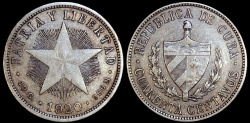 World Coins - 1920 Cuba 40 Centavo - 1st Republic - Low Relief Star - XF
