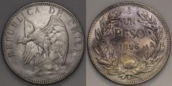 World Coins - 1896 Chile 1 Peso - Defiant Condor - XF Silver