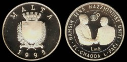 World Coins - 1995 Malta 5 Liri Commemorative Silver Proof