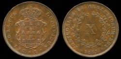 World Coins - 1867 Portugal 10 Reis AU