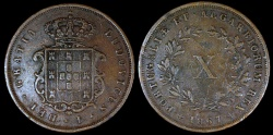 World Coins - 1867 Portugal 10 Reis - Luiz I - XF