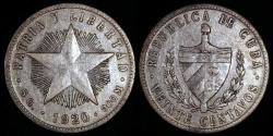 World Coins - 1920 Cuba 20 Centavos - 1st Republic - XF