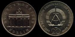 World Coins - 1990 A German Democratic Republic 20 Mark - Opening of the Brandenburg Gate Commemorative BU