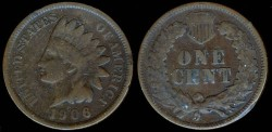 Us Coins - 1906 Indian Head Cent F