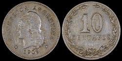 World Coins - 1909 Argentina 10 Centavos AU