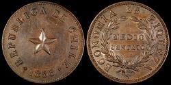 World Coins - 1853 Chile 1/2 Centavo - Decimal Coinage - AU