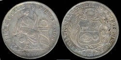 World Coins - 1870 YJ Peru 1 Sol AU