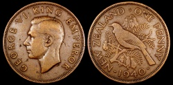 World Coins - 1940 New Zealand 1 Penny VF