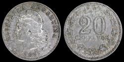 World Coins - 1897 Argentina 20 Centavos XF
