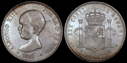 World Coins - 1891 (91) PG-M Spain 5 Pesetas - Alonso XIII - AU
