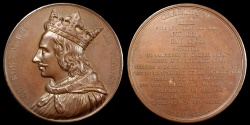 """World Coins - 1836  France - Charles V, """"the Wise"""", monarch of the House of Valois who ruled as King of France (1338-1380) by Armand-Auguste Caqué for the """"Kings of France Series"""" #52"""