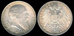 World Coins - 1902 Baden 2 Mark BU