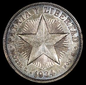 World Coins - 1934 Cuba 1 Peso