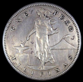 World Coins - 1911 S Philippines 1 Peso - U.S. Administration - XF