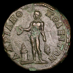 Ancient Coins - Caracalla Ae27 - Apollo at Altar - Hadrianopolis
