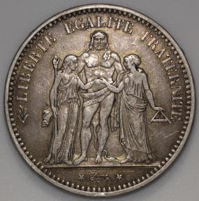 World Coins - 1875 A France 5 Franc - Hercules - Paris Mint - AU