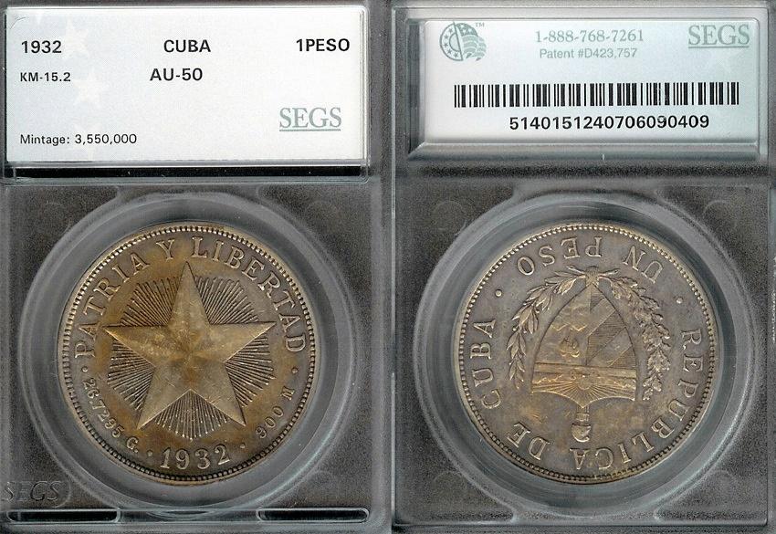 "World Coins - 1932 Cuba 1 Peso - ""Star Peso"" SEGS AU50"