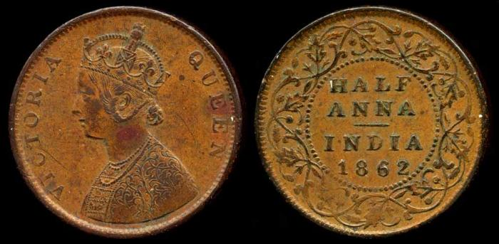 World Coins - 1862 (c) India (British) 1/2 Anna AU