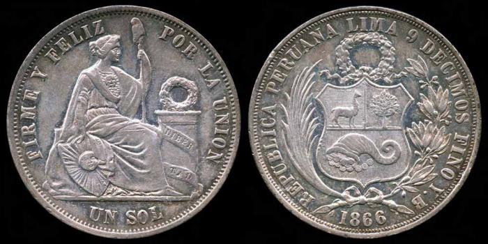 World Coins - 1866/56 YB Peru 1 Sol UNC