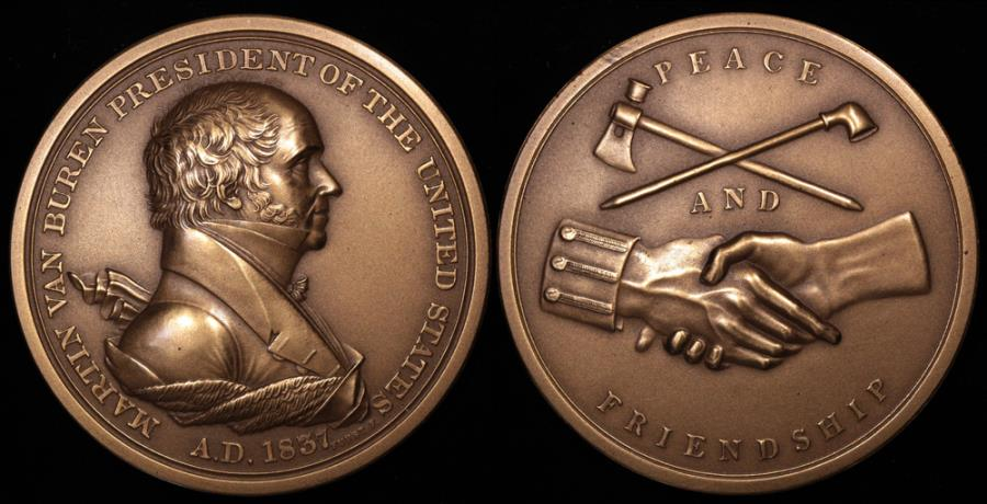 "US Coins - 1837 Martin Van Buren ""Indian Peace Medal"" - Eighth President of the United States (March 4, 1837 to March 3, 1841) - Original US Mint Medal by Moritz Furst and John Reich"