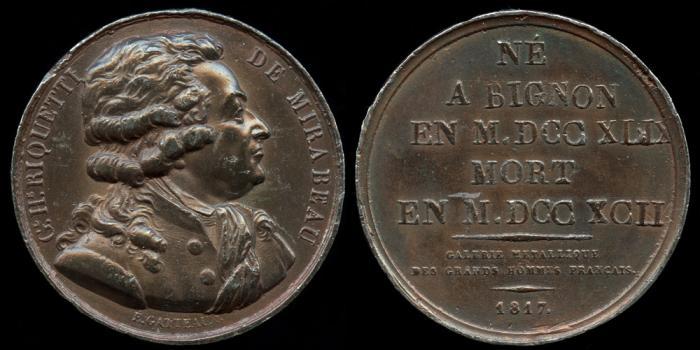 World Coins - 1817 France - Honoré Gabriel Riqueti, comte de Mirabeau (a French revolutionary, writer, diplomat, journalist and politician) by Jacques-Édouard Gatteaux