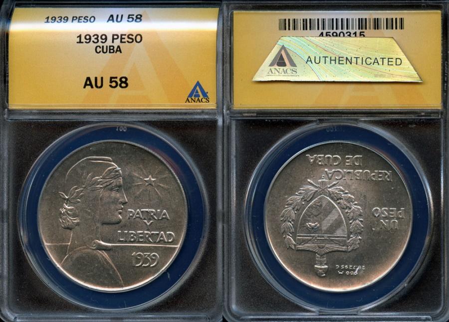 """World Coins - 1939 Cuba 1 Peso - """"ABC Peso"""" ANACS AU58"""