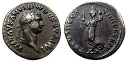 Ancient Coins - Domitian AR Denarius : Minerva with Victory and Spear : Scarce and XF+